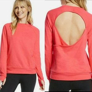 Fabletics Ginger Open Back Pullover in Coral